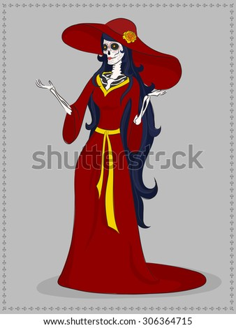 Vector illustration of a hand drawn female skeleton inviting to a day of the dead. She wears a red dress and has a long black hair. Her skull painted in this event theme. - stock vector