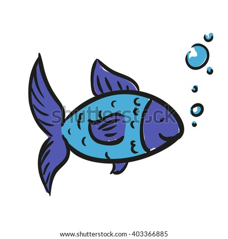 Vector Illustration of a Hand Drawn Fish