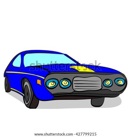 vector illustration of a hand drawn retro racing car - stock vector