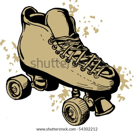vector illustration of a Hand drawn Roller skates  isolated on white background. - stock vector