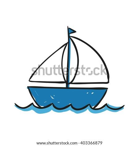 Vector Illustration of a Hand Drawn Sailing Ship - stock vector