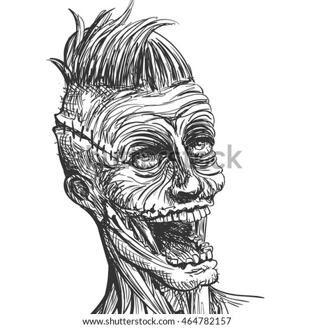 vector illustration hand drawn scary zombie stock vector