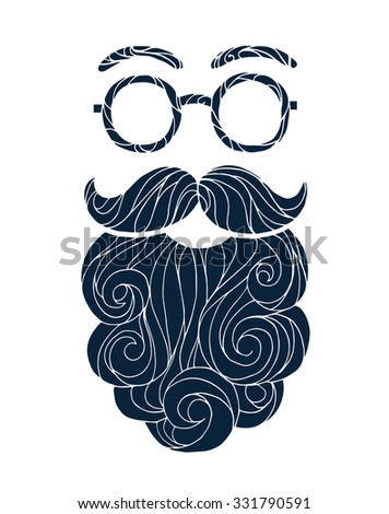 Vector illustration of a hand drawn sketch male beard and mustache fashionable hipster style, curly beard and round glasses - stock vector