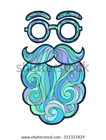 Vector illustration of a hand drawn sketch santa claus male beard and mustache fashionable hipster style, curly beard and round glasses - stock vector