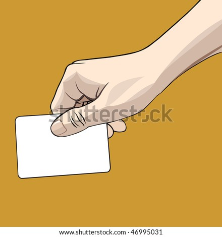 Vector illustration of a hand holding a blank credit card isolated on gold background - stock vector