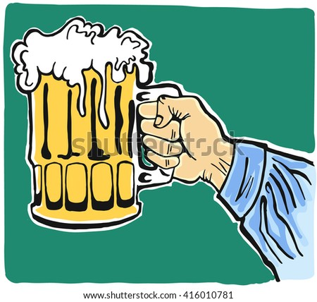 Vector illustration of a hand holding a glass of beer