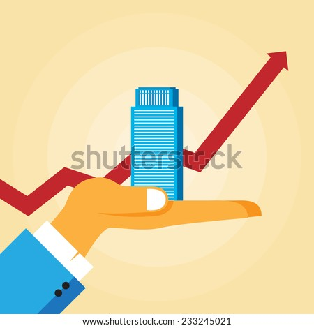 Vector illustration of a hand holding an office tower with a rising graphic line in the background. - stock vector