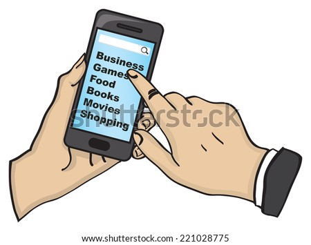 Vector illustration of a hand holding and playing with touch screen mobile phone isolated on white background.