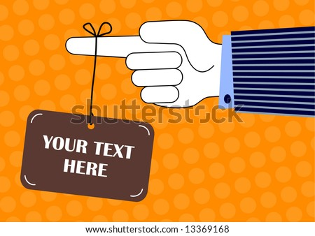 vector illustration of a hanging sign ready for your own text - stock vector