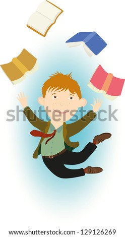 Vector illustration of a happily jumping ginger young man. He looks like a student, passed an exam.  Thrown and flying books on the background. - stock vector