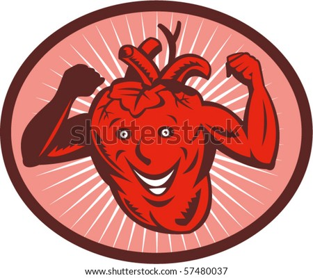 vector illustration of a Happy and healthy  heart flexing its muscle - stock vector
