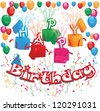 Vector illustration of a happy birthday card design with colorful party elements. White background - stock vector