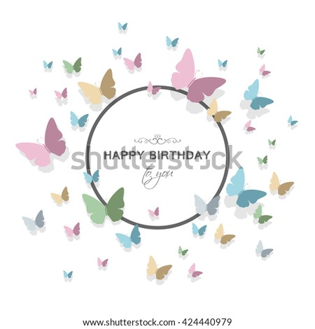 Vector Illustration of a Happy Birthday Greeting Card Design with Pastel Colored Paper Butterflies - stock vector