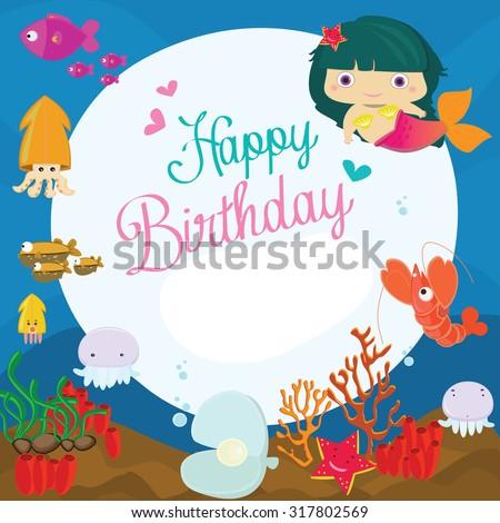 Vector Illustration Happy Birthday Greeting Cardunderwater – Cute Birthday Greeting Cards