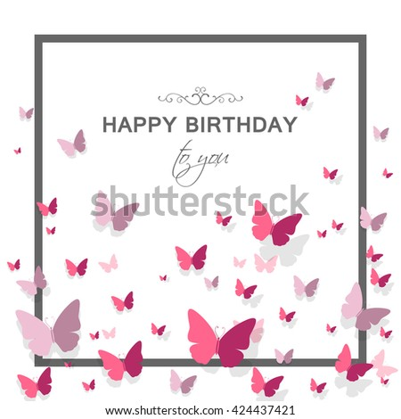 Vector Illustration of a Happy Birthday Greeting Card with Paper Butterflies and Floral Design Elements - stock vector