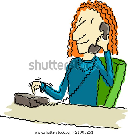 Vector illustration of a happy business woman at her desk, dialing the telephone. - stock vector