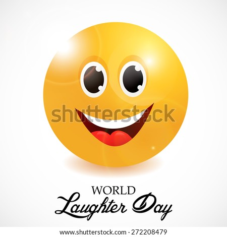 Vector illustration of a happy face for World Laughter Day in gray background. - stock vector