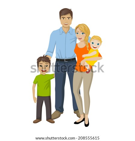 Vector Illustration of a Happy Family - stock vector