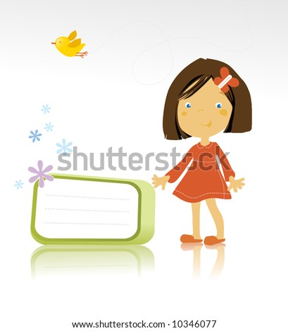 vector illustration of a happy little girl standing and a bird on white background - stock vector