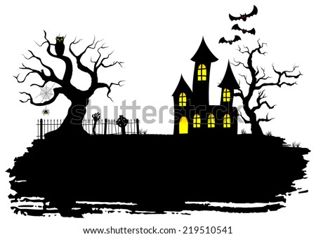 vector illustration of a haunted house at halloween - stock vector