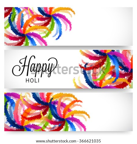Vector illustration of a header for colorful festival of Holi. - stock vector