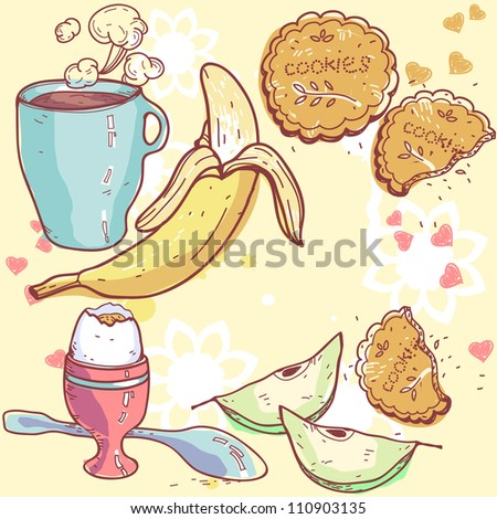 vector illustration of a healthy breakfast food - stock vector