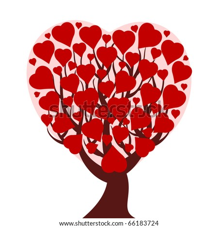 vector illustration of a heart tree isolated on white background - stock vector