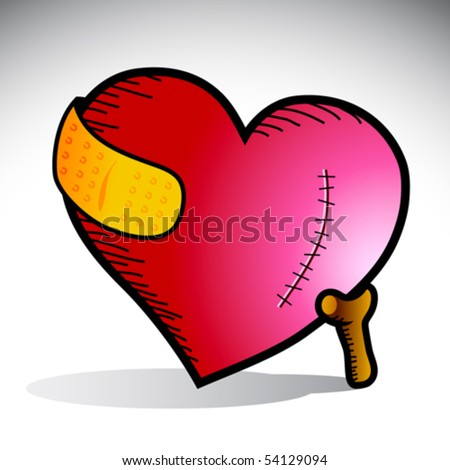 Vector illustration of a heart with scar and yellow bandage supported by a cane - stock vector