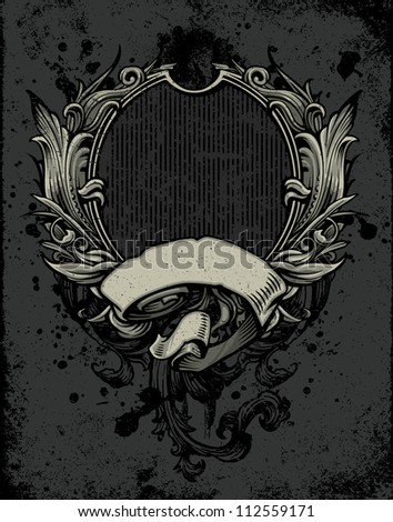 Vector illustration of a heraldry crest background with inset frame, wings, blank banner, and leafy ornamental scroll design elements. - stock vector