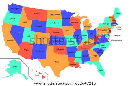 Full Color Map United States America Stock Vector - Us map color in states