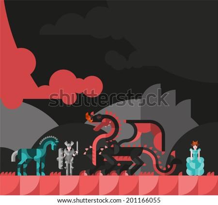 Vector illustration of a horse, knight, dragon and princess. Flat. - stock vector