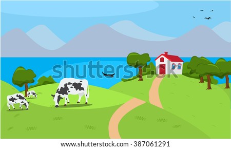 Vector illustration of a house and grazing cow in a beautiful countryside nature. Summer nature scene. Organic milk theme design - stock vector