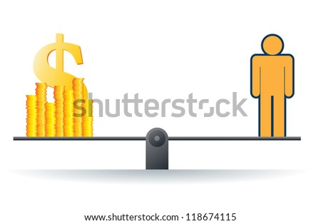 Vector illustration of a human figure on a scale with heaps of gold dollar coins. - stock vector