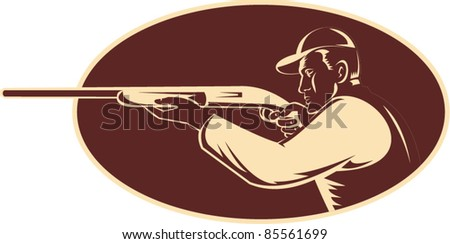 vector illustration of a hunter shooting aiming shotgun rifle viewed from side woodcut set inside oval - stock vector