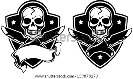 Vector illustration of a insignia with skull and knifes - stock vector