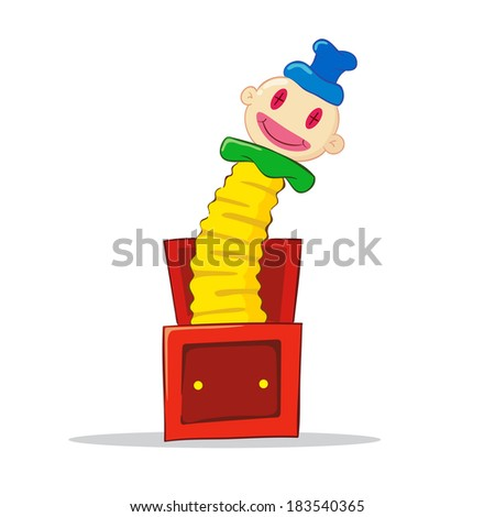 Vector illustration of a jack in the box toy - stock vector