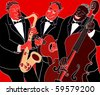 Vector illustration of a Jazz band over red background - stock vector