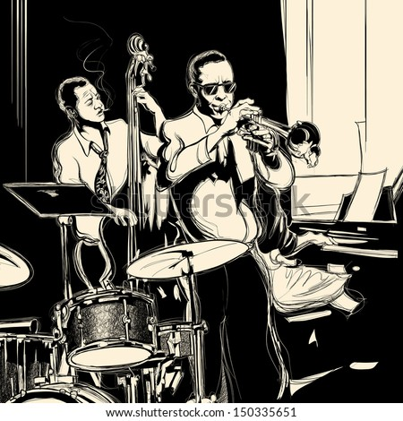 Vector illustration of a Jazz band with double-bass - trumpet -piano and drum - stock vector