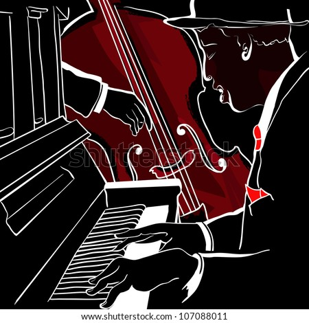 Vector illustration of a Jazz piano and double-bass - stock vector