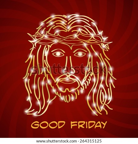 Vector illustration of a Jesus for Good Friday in red background. - stock vector