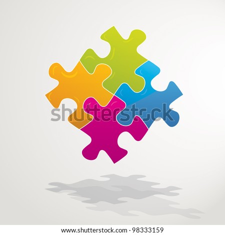 Vector Illustration of a Jigsaw Puzzle - stock vector