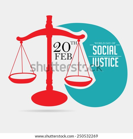 Vector Illustration of a judge balance for World Day of Social Justice in gray background.