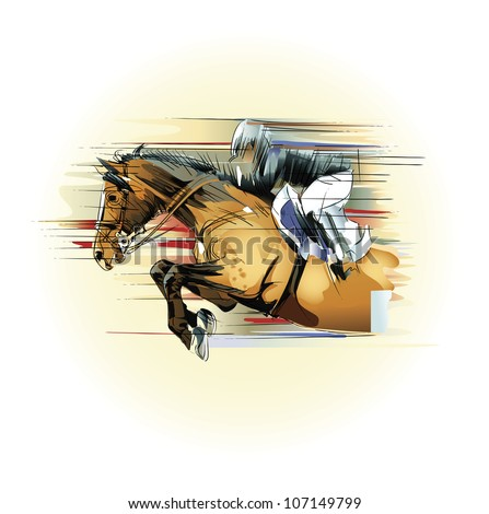 Vector illustration  of a jumping horse and jockey - stock vector