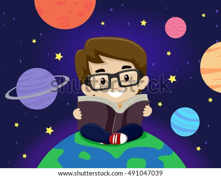 Vector Illustration of a Kid Boy sitting around planet while reading book