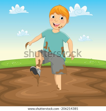 Vector Illustration Of A Kid Playing in the Mud - stock vector