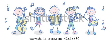 Vector illustration  of a kids' music band. - stock vector