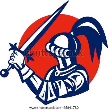 vector illustration of a Knight brandishing a sword viewed from side - stock vector