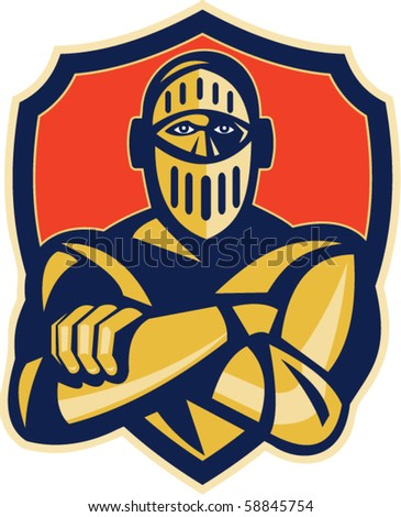 vector illustration of a knight with arms crossed with shield in background