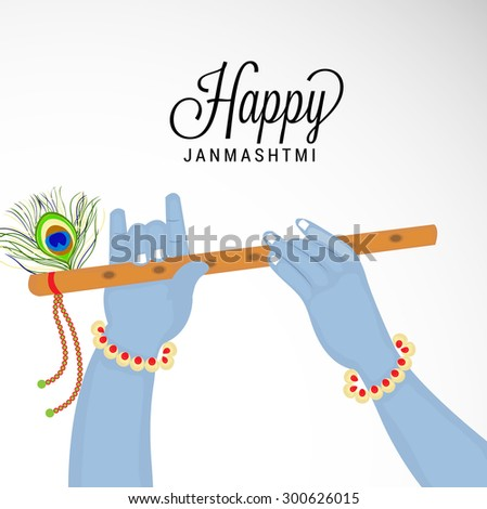 Vector illustration of a Krishna Hand Holding a Flute for Happy Janmashtmi. - stock vector