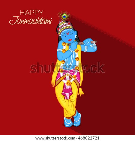Vector illustration of a Krishna with red background for Happy Krishna Janmashtami.